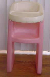 "Little Tikes Soft Pink Doll High Chair Child Size 24"" High Heavy Plastic Sturdy"