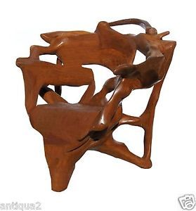 Massive One of A Kind Solid Artist Carved Teak Root Wood Chair Arm Chair Arts