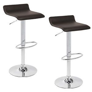 2 Modern Coffee Dark Brown Swivel Bombo Chair Pub Barstools Chrome Counter Ale