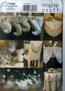 Sewing Pattern Vogue 7986 Luxe Christmas Mantle Chair Scarf Stockings Tree Skirt