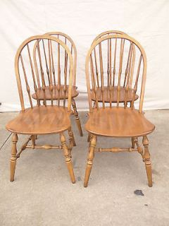 4 Ethan Allen Circa 1776 Maple Windsor Side Dining Room Chairs