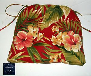 Croft Barrow Outdoor Weather Resistant Chair Pad Red Floral New with Tags