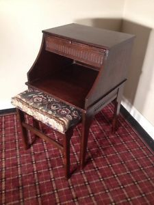 "Unique Vintage Telephone Table Chair ""Gossip Bench"" Desk w Slide Out Seat"