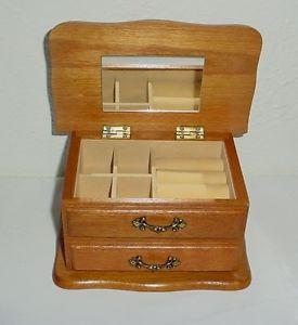 Wood Jewelry Box Keepsake Organizer Drawer Mirror Very Good Condition