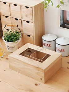 Wood Storage Drawer Multi Purpose Organizer Wooden Tea Box Kitchen Small Cabinet