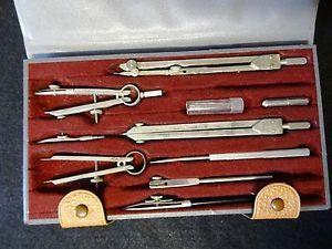 Vintage Tacro 2219 Drafting Kit Engineering Instruments Drawing Tool Set Germany