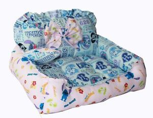 Blue Pink Puppy Doggie Cat Dog Bed Mat House Soft Grid Lilo Stitch Chair LL03