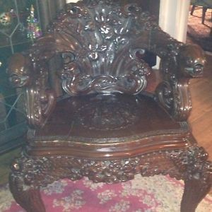 Exquisite Antique 1800's Hand Carved Throne Chair Koi Fish