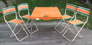 Vtg Mid Century Modern Portable Folding Table Chairs Set Gio Style Italy Picnic