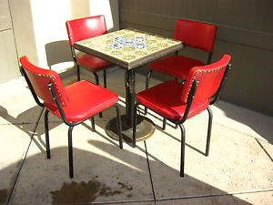 Vintage Spanish Style Dining Set Table w 4 Chairs Spanish Tiled Top Patio Set
