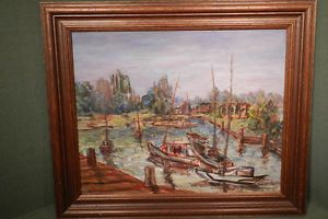 Vintage Post Impressionist California Painting Docks Wharf SHIP Hughes Fishing