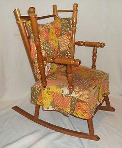 ... Vintage Childs Wooden Rocking Chair ...
