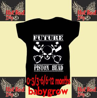 Hotrod 58 Pistonhead Baby Grow Onesie Body Suit Vest Romper Racing Drag Bike Car