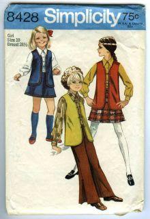 Vintage 1969 Simplicity 8428 Girls Vest Blouse Skirt Bell Bottom Pants Pattern