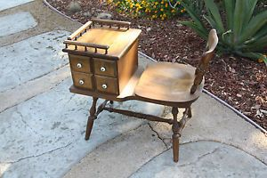 Vintage Wood Telephone Gossip Bench Chair Phone Table with Swivel Seat Drawers
