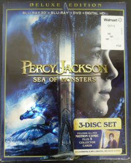 New Percy Jackson Sea of Monsters Blu Ray DVD 2013 3 Disc Set Digital 3D 024543867814