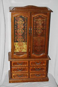 """23"""" Tall Vintage Wood Jewelry Box Organizer Double Doors 7 Drawers Mirror"""