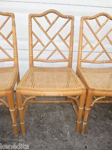 ... Set Chinese Chippendale 4 Dining Chairs Bamboo Four Rattan Faux Adler  Wicker ...