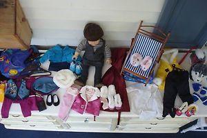 American Girl Samantha Pre Mattel Doll w Lot of Clothes Husky Folding Chair