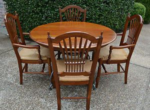 Ethan Allen Maison Brittany Cherry Table Iron Base 4 Renee Chairs Woven Seat