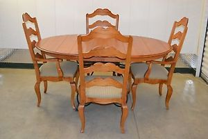 Ethan Allen Legacy Maple Dining Table Four Ladderback Chairs 13 6313 13 6400