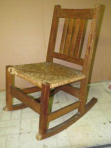 Arts Crafts Mission Oak L JG Stickley Sewing Rocker Rocking Chair Rope Seat