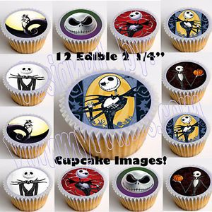 Jack Skellington Edible Cupcake Topper 12pcs Cut Paste No Peel