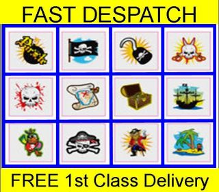 48 Pirate Temporary Tattoos Boys Party Bag Fillers Childrens Kids Fete New