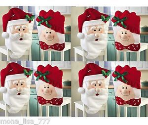 New Set of 8 Santa Mrs Claus Holiday Dining Chair Covers Christmas Kitchen