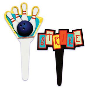 Bowling Cupcake Picks Cake Decorations Toppers Sports Bowl Party Supplies 24