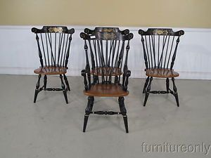 F34638 Set of 4 Ethan Allen Hitchcock Style Windsor Dining Room Chairs