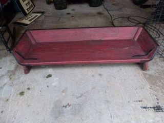 Antique Horse Buggy Wagon Carriage Seat Bench Antique Red Painted Wood