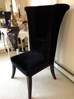 ... 2 Mad Hatter Tall Wing Back Black Velvet Chairs ... & Mad Hatter Tall Wing Back Velvet Dining Chair 847 LC847SIBR