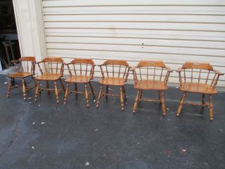 51519 Set 6 Ethan Allen Solid Maple Dining Room Chairs Chair S