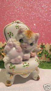 Vtg Angelic Kitten Kitty Cat in Chair Pink Flowers Huge Green Eyes Adorable Mint