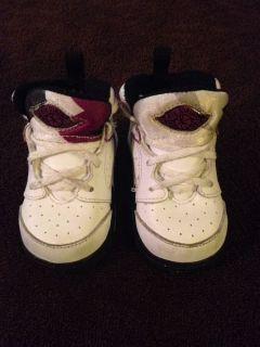 Nike Air Jordans Baby Girl or Boy Sz 3c White Purple Black High Tops