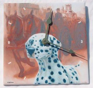 Dalmatian Antique Horse Drawn Pumper Fire Truck Tile Clock Jeff Kerns Gift