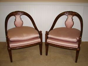 Vintage Walnut Saber Leg Style Chairs High End Clean Quality Upholstered Pair