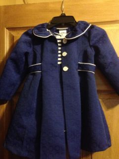 Bonnie Jean Royal Blue and White Dress Coat Casual Pageant Interview Wear Size 3