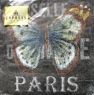 Cypress Home Cocktail Beverage Paper Napkins Set of 40 Chalk Paris Butterfly
