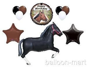 10pc Black Horse Balloons Set Western Farm Rodeo Cowboy Birthday Party Supplies