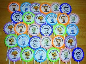30 Octonauts Personalized Cupcake Toppers Birthday Party Favors Supply