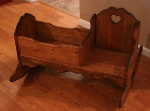 Child's Wooden Rocker Rocking Chair w Baby Doll Cradle Handcrafted