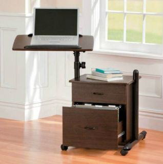 Rolling Laptop Computer Desk w Filing Cabinet Home Office Furniture