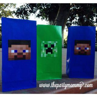 12 Minecraft Favor Bags Goody Pinata Candy Birthday Party Steve Creeper Decor