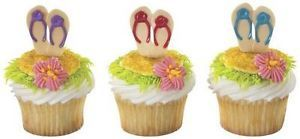 12 Flip Flops Cupcake Picks Cake Toppers Summer Beach Party Favors Luau Supply