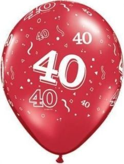 """Age 40 40th Ruby Anniversary Red 11"""" Balloons x 5"""