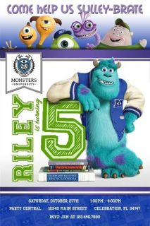 Monsters University 2 Mike Wazowski Sulley Birthday Party Invitation Printable