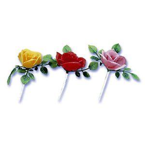 Rose Cupcake Picks Cake Flower Cake Toppers Garden Party Supplies 24