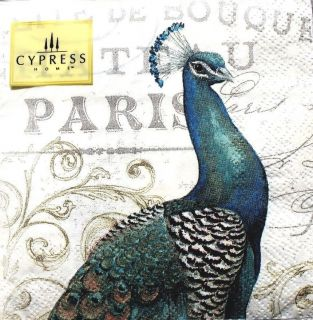 Cypress Home Cocktail Beverage Paper Napkins Set of 40 Majestic Beauty Peacock